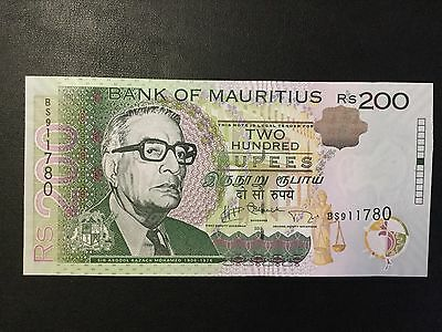 2013 Mauritius Paper Money - 200 Rupees Banknote !