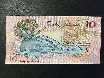 1987 Cook Islands Paper Money - 10 Dollars Banknote !