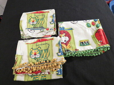 Vintage barkcloth fabric childrens novelty circus pair curtain panels plus scrap