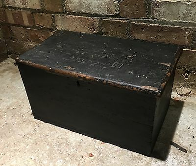 Vintage Georgian Wooden Chest Casket Strong Box Apprentice Tool Box