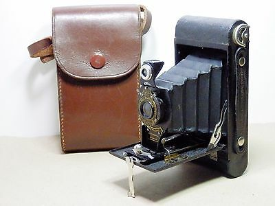 Vintage Kodak Number 2 Folding Authographic camera with case.