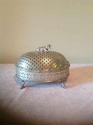 Silverplate Cow Finial Milk Glass Insert Antique Butter Dish VERY UNUSUAL 4 pces