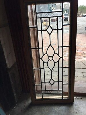 "Sg 977 Antique Beveled Glass Jeweled Center Transom 14.25"" X 32.5"""