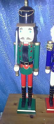 New Extra Large 2 feet tall Christmas wooden Nutcracker Soldie Green/red uniform