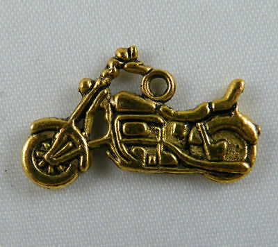 15pcs Gold Tone Motorcycle Charms 24.5x15x2mm 9046-2