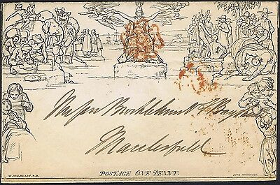 1840 1d Mulready Envelope Stockport to Macclesfield Fine Used Cat. £525.00