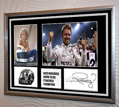 """Nico Rosberg World Champion Signed Tribute Silver Framed   """"Great Gift"""""""