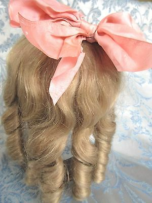 "VTG Human Hair 11-12"" Doll Wig For Antique Bisque Doll Long Blonde &Silk Bow"