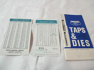 Vintage 1960's Taps & Dies & Sizes guides booklet