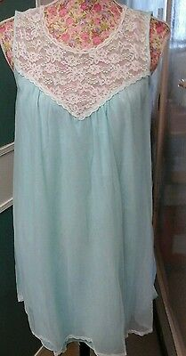VINTAGE DORE LINGERIE BLUE BABYDOLL NIGHTDRESS 60s SIZE 12 NICE ITEM