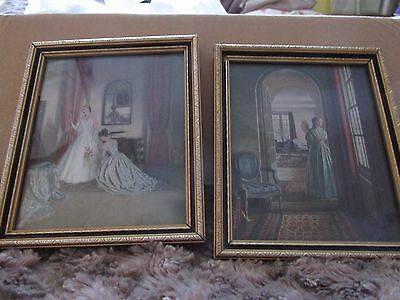 Vintage  Miniature Framed Prints the letter and Her First Ball Dress by c taylor
