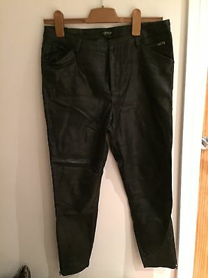 Topshop Faux Leather Cropped Trousers Size 10