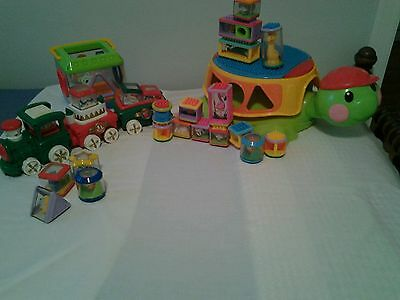 Fisher Price Peek A Blocks, Christmas Train, Shape Sorter, Build & Spill Turtle