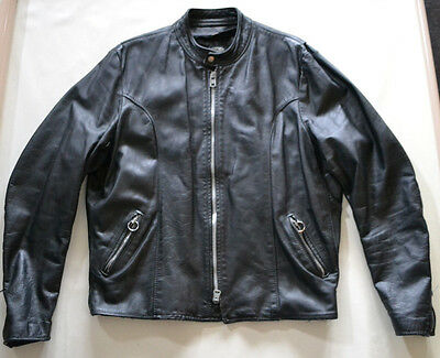 VINTAGE BROOKS BLACK LEATHER MOTORCYCLE JACKET Size 50 Cafe Racer