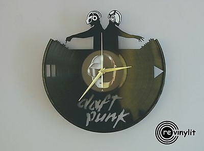 Daft Punk clock, Daft Punk art, Daft Punk decor, vinyl record clock, vinyl clock