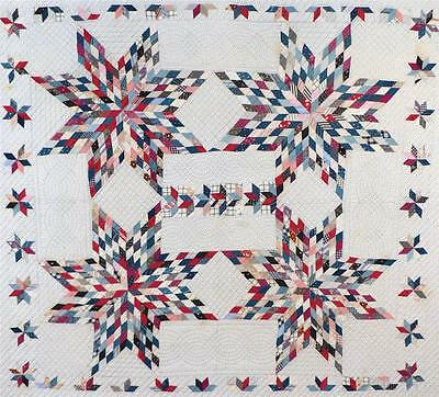 """Unusual Antique Touching Stars"""" Quilt, Cotton, C. 1890-1915, Nice Condition."""