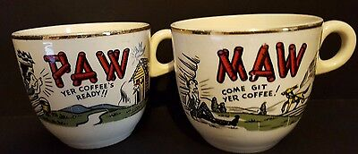 Maw & Paw Hillbilly Coffee Cups Mugs Set 1960s Ceramic 8oz  White with Gold