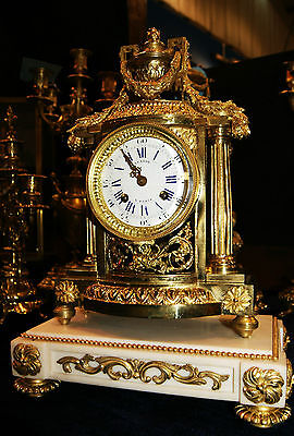 Antique Gilt Bronze and Marble Mantel clock ,Lenoir Paris circa 1750
