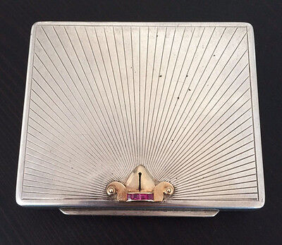 Antique Tiffany & Co Sterling Silver & 14K Gold Ruby Makeup Powder Case Compact