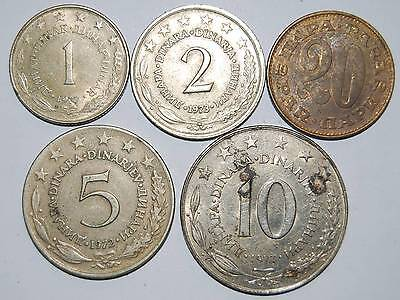 Collection of Yugoslavian coins prior to breakup of country.