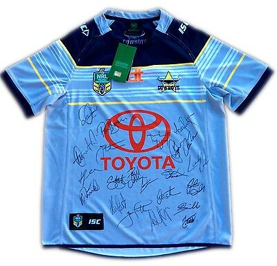 NORTH QUEENSLAND COWBOYS Signed 2016 Away NRL Jersey - *COA* -