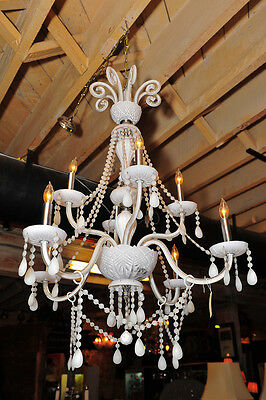 Beautiful White Milk Glass Chandelier w/8 candles