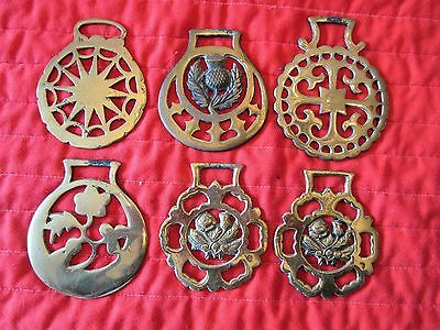 Qty Of 6 Vintage Brass Horse Medallions