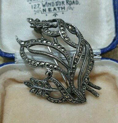 Vintage 925 Sterling Silver Art Nouveau Brooch With Marcasite