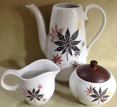 Shenango - Peter Terris Original - Calico Leaves - Teapot, Creamer & Sugar Bowl