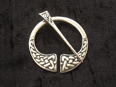 Sterling Silver Penannular Brooch  Scottish brooch with celtic knot design
