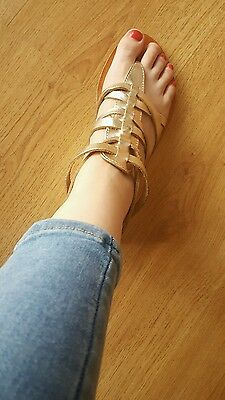 New Look Gold Gladiator Sandals Size 5 / 38 Summer Good Condition