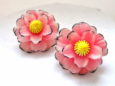 Pink Carved Celluloid Flower Earrings