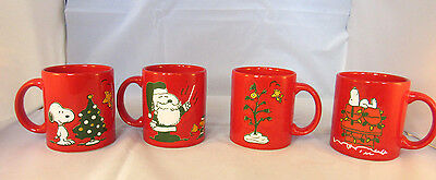 SNOOPY PEANUTS 50th ANNIV set of 4 CHRISTMAS MUGS from GERMANY by WAECHTERSBACH