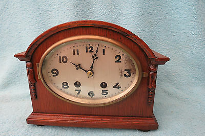 Small Vintage Hac German Striking Mantel Clock For Tlc