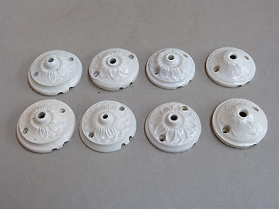 set 8 french porcelain ceiling rose light antique vintag chandelier fixing china