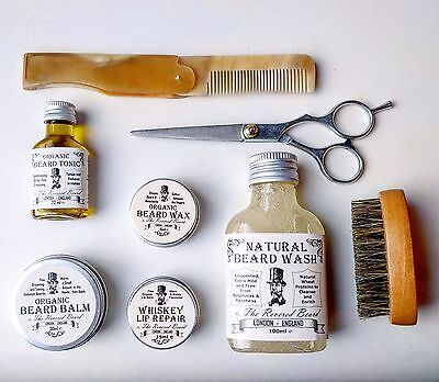 Organic Beard Oil, Balm, Wax, Soap, Whiskey Lip balm +  Comb + Brush + Washbag