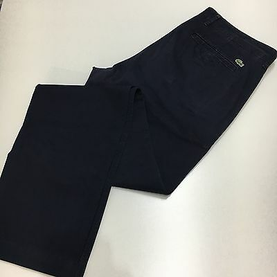 Mens Lacoste slim fit chinos in navy cotton twill Size 36 waist