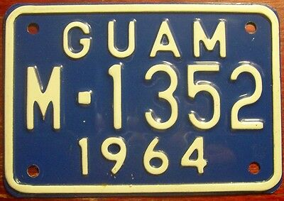1964 Guam Pacific Island Motorcycle Cycle License Plate Harley Indian Original