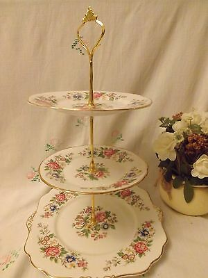 """Beautiful Vintage Bone China Royal Stafford """"rochester"""" 3 Tier Cake Stand"""