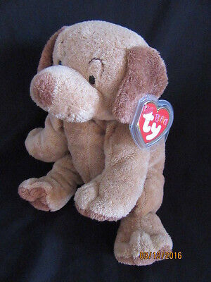 Ty Beanie Pluffies Puppers - Brown Dog - Retired With Tag
