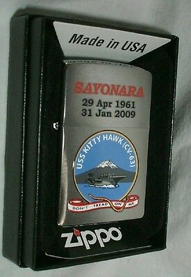 Navy ZIPPO USS Kitty Hawk Lighter US NAVY SHIP   CV-63