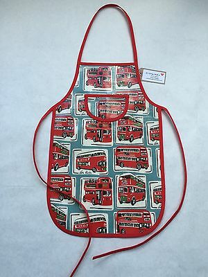Cath Kidston Handmade 'London Bus' Oilcloth Children's Apron Age 5-12 Yrs