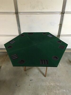 """Portable Card Table 54"""" Felt With Travel Case Used. Poker Chip & Drink Holders"""