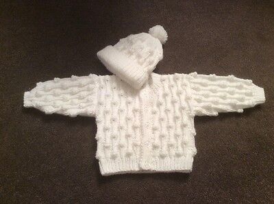 Baby Boys Bobble Cardigan And Hat 0/6 Months Hand Knitted