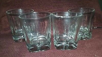 4 Libbey Squire Double Old Fashioned Square Base Rocks Whiskey Glasses Numbered