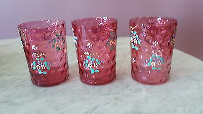 Three Antique Victorian Cranberry Inverted Thumbprint Tumblers Floral Decoration