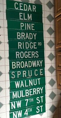 """Vintage Lot Of 12 Metal Reflective Street Signs Trees 24""""x6"""" Green Used Lot2"""