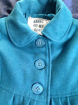 Girls Teal Matalan Wool Blend Coat. Age 6-7