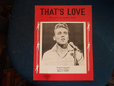 BILLY FURY - That's Love Repro  Sheet Music
