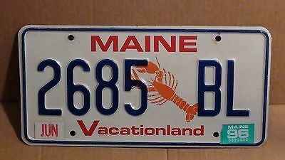 """1996 Maine """"Lobster/Vacationland License Plate (2685 BL)"""